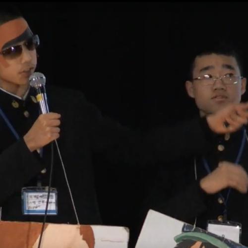 2018年度ソーシャルチェンジ グランプリ受賞時の発表 (左)赤羽くん(右)野澤くん