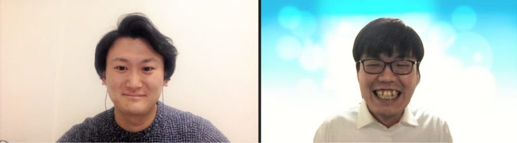 特定非営利活動法人 Learning for All 代表理事の李 炯植さん(左)と、インタビュアーとして学校コーディネーター佐藤瞬(右)